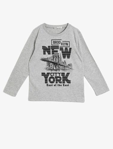 Koton Kids Yazili Baskili T-Shirt Gri